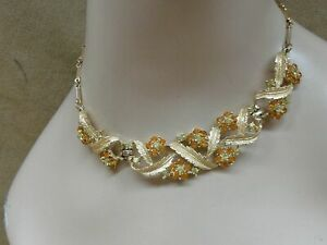 LOVELY-VINTAGE-1950-039-S-PEGASUS-CORO-RHINESTONE-FLOWER-CHOKER-NECKLACE