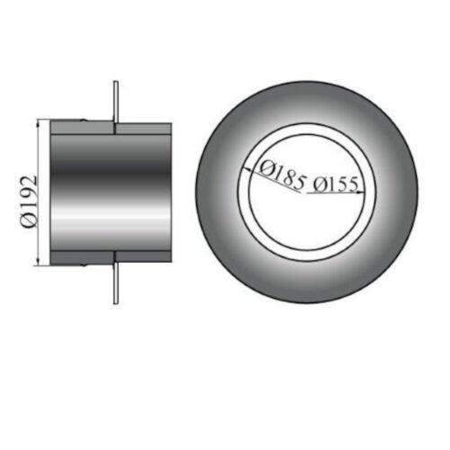 Rosette mit Wandfutter//Mauermuffe für Isolierte Rohre 50mm Rand 150mm Ø
