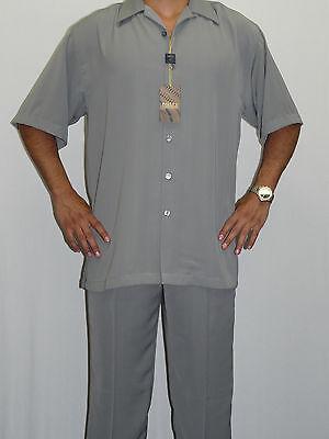 Mens INSERCH Walking Leisure Suit Two Piece Matching Slacks Shirt Set 9356 Gray