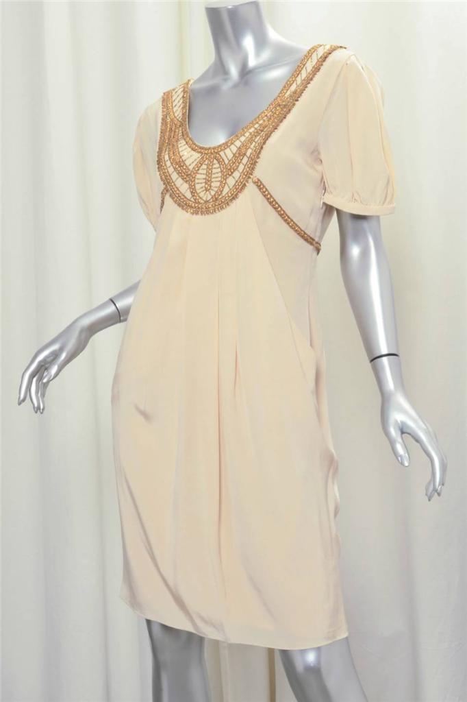 TEMPERLEY damen Cream Gold Stud Beaded Draped Short-Sleeve Knee-Length Dress 6