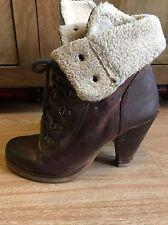 Aldo Leather Brown High Heel Fluffy Winter Boots Women's Size 6 Uk / 39 Eur