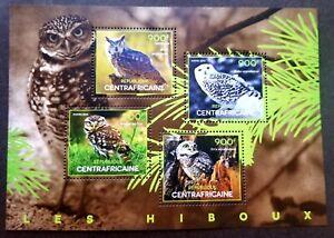 [SJ] Central Africa Bird Of Prey Owls 2014 Fauna Wildlife (ms MNH