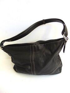 4174b0a8c7 Image is loading AUTHENTIC-COACH-Black-Leather-Adjustable-strap-Handbag-bag-