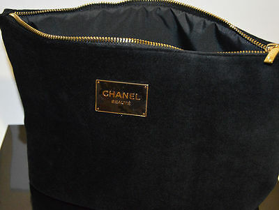 CHANEL Beaute NEW BIG Black Velvet Cosmetic/Makeup Bag NIB VIP gift