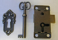 Antique Lock & Key Set With Escutcheon Plate For Clocks, China Cabinets,etc.