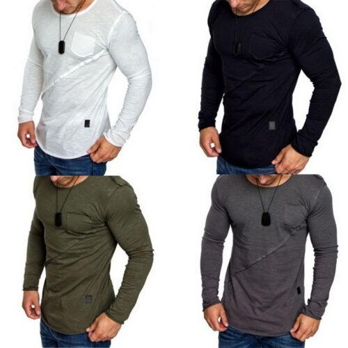Herren Langarm Slim Fit Shirt T-Shirts Freizeitshirt Oberteil Bluse Longshirts P