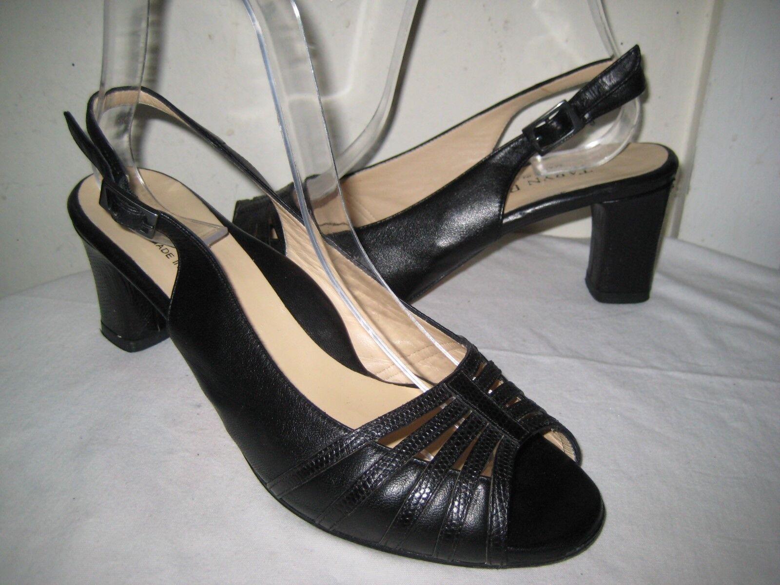Taryn Rose Black Leather Open Toe Slingbacks Sandals Shoes Women's Size 39 / 8.5