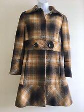 Zara Brown Beige Vintage Check Wool Coat. Size Medium (UK 12)