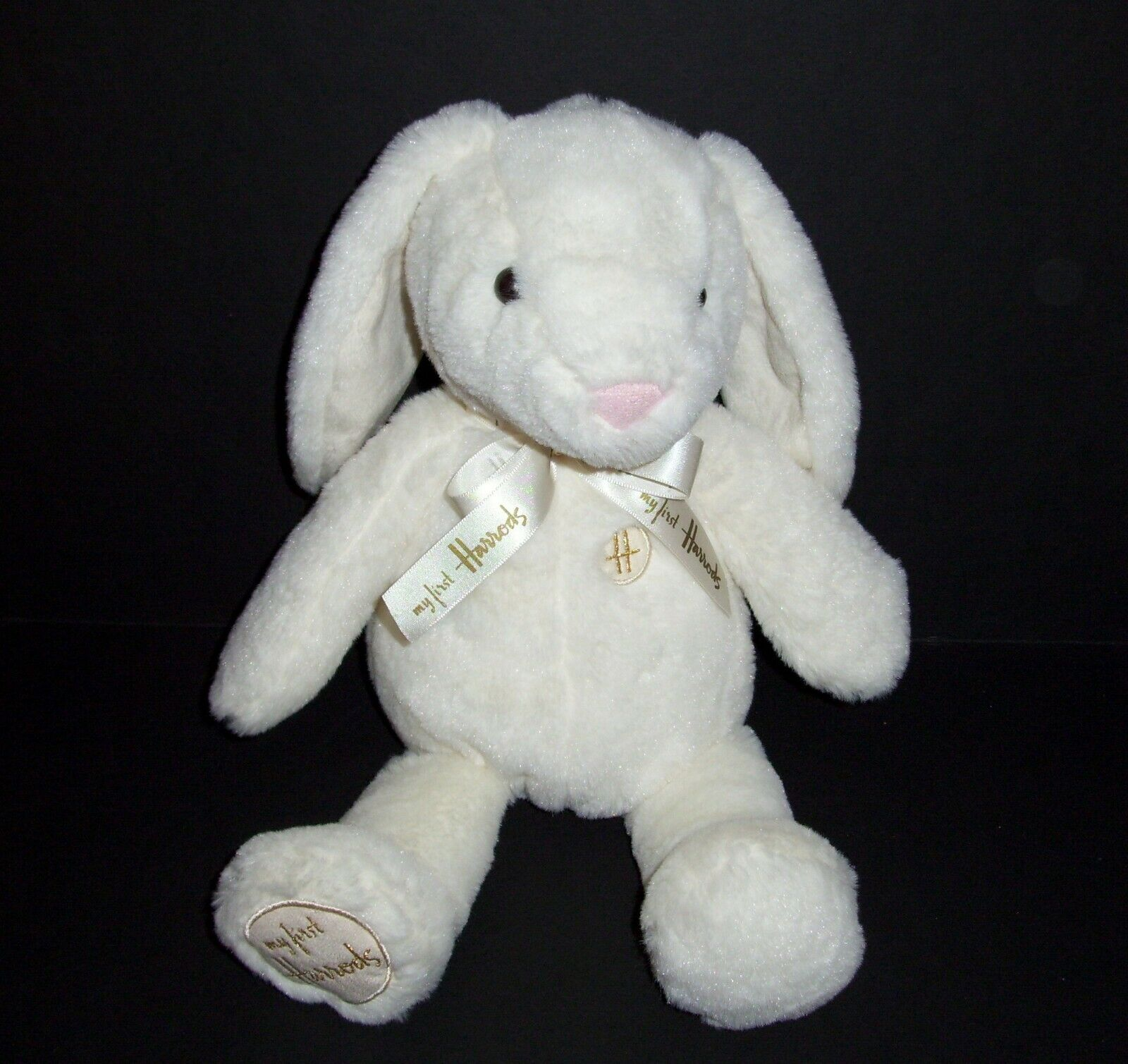 15  Harrods My My My First Bunny Plush Cream Off White gold Bow Stuffed Animal Toy 03d3d2