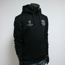 FC BARCELONA Hoodie Fleece Men's Hooded Soccer Team Black FCB Sweatshirts