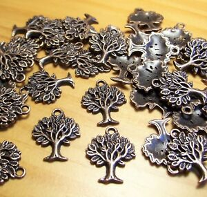COPPER METAL TREE-LIFE CHARMS-NATURE TRAIL PENDANTS-FINDI<wbr/>NGS-JEWELRY-LO<wbr/>T 50pcs