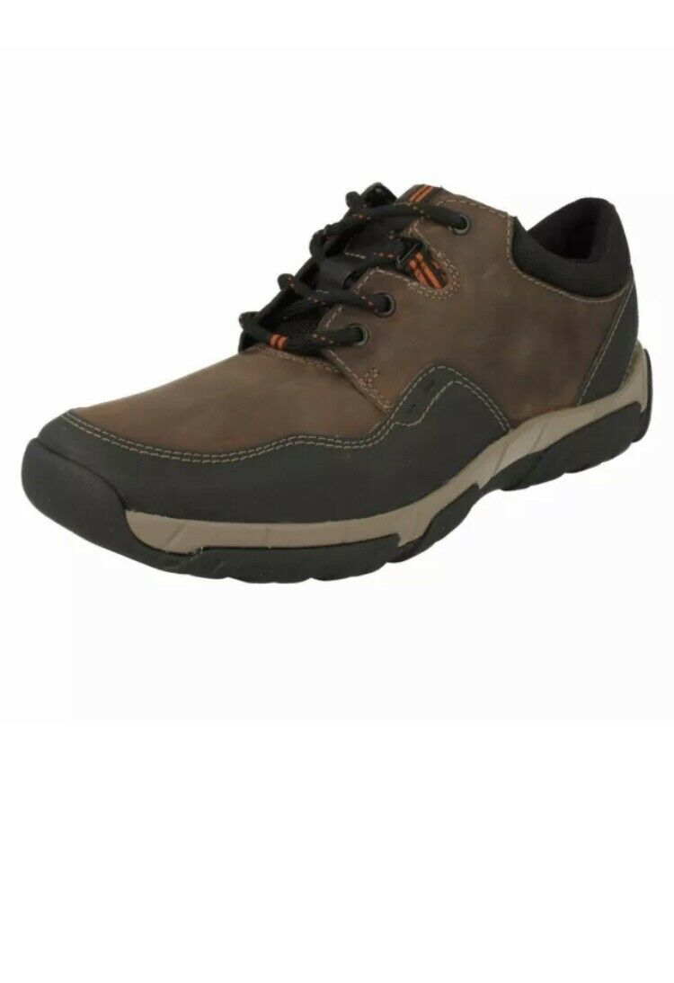 Clarks Mens Casual Shoes WALBECK EDGE II Brown Leather Uk Size 7.5 G /41.5
