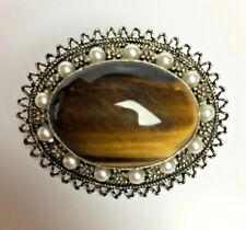Vintage Tiger's Eye Sterling Silver Seed Pearl Pendant Brooch Pin