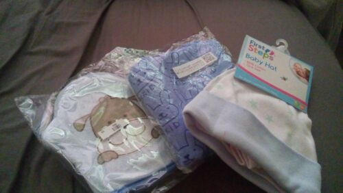 New Born Baby Hat Scratch Mittens Sponge Glove and Towel gift Set