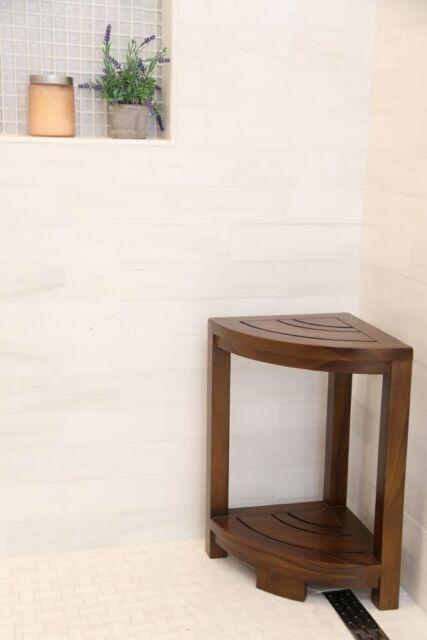 Groovy Teak Shower Bench Corner Stool Bath Spa Wood Bathroom Seat Bathtub Chair Inzonedesignstudio Interior Chair Design Inzonedesignstudiocom