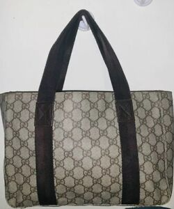 1863f714c569 PRE-OWNED GUCCI GG PATTERN SUPREME SHOULDER TOTE PVC BROWN LEATHER ...