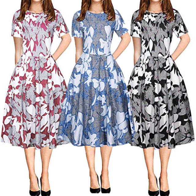 Women's Maxi Boho Floral Long Dress Summer Beach Evening Party Casual Dresses