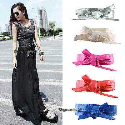 Women Wide Waist Corset Cinch Belts PU Leather Warp Around Tie for Party Fashion