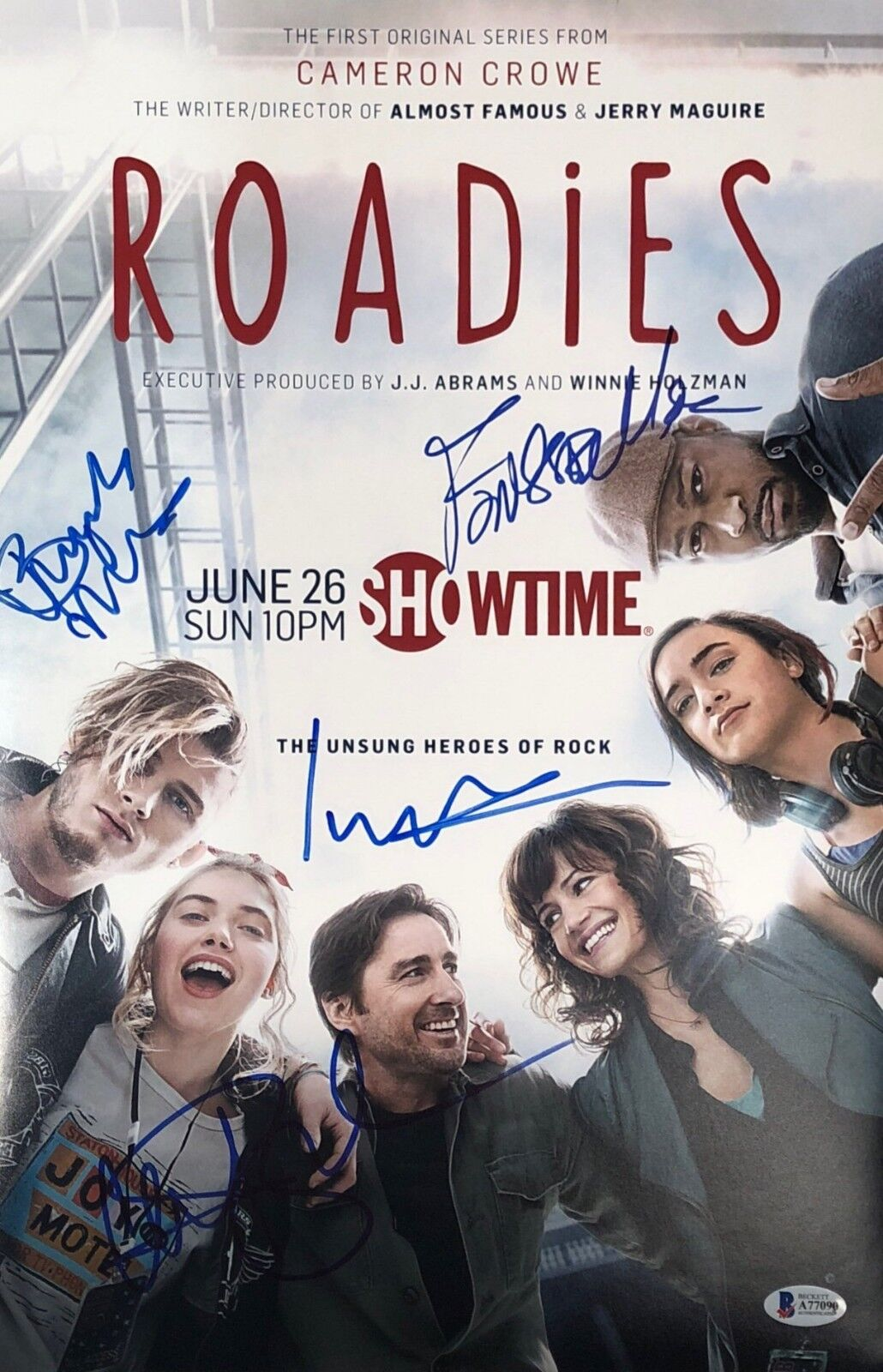 L Wilson Carla Gugino Finesse Mitchell Rafe Spall Signed Roadies 11x17 Photo BAS