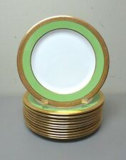 "SET/11 AYNSLEY BONE CHINA 8.25"" LUNCHEON PLATE, BRIGHT GREEN & ENRAVED 24K GOLD"