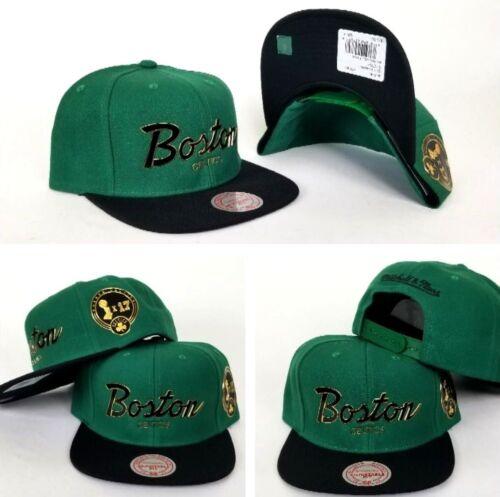Black Script Boston Celtics 12x Champion side snapback Hat Mitchell Ness Green