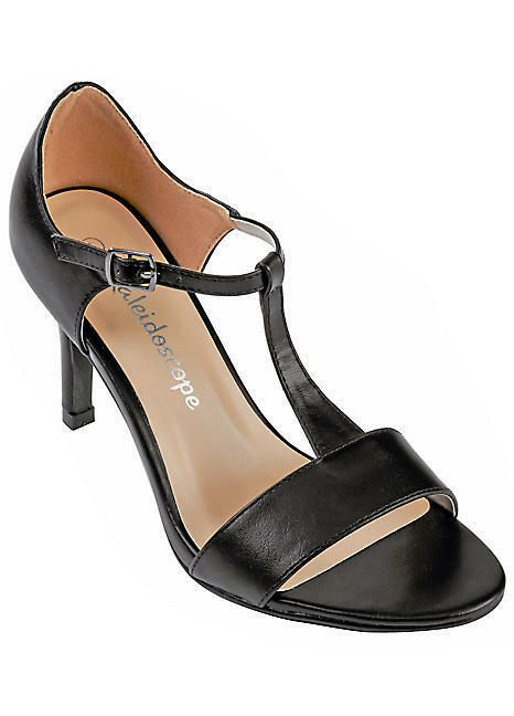 Kaleidoscope Black T Bar Sandals UK 6 EU 39 JS13 99