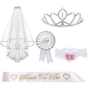 5-Pcs-Garter-Rosette-Tiara-Badge-Crown-Sash-Veil-Party-Decor-Wedding-Bride-to-Be
