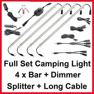 4-Bar-12V-Connectable-LED-Camping-Kit-RV-Trailer-Boat-Cabinet-Strip-Lights-Bag
