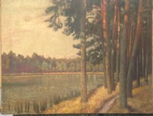 HAVEL-GRUNEWALD-BERLIN-KIEFERN-AM-UFER-OLGEMALDE-UM-1920-SEE-WANDERWEG-OL