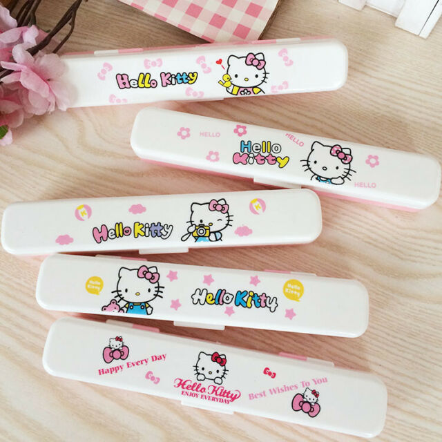 4pcs//set Cute Hello Kitty Ceramic Tableware Spoon Fork Chopsticks Storage Box