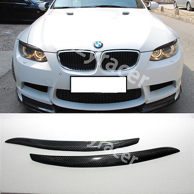 For BMW E92 E93 /& M3 2006-2013 Front Eyelid Eyebrow Headlight Cover Carbon Fiber