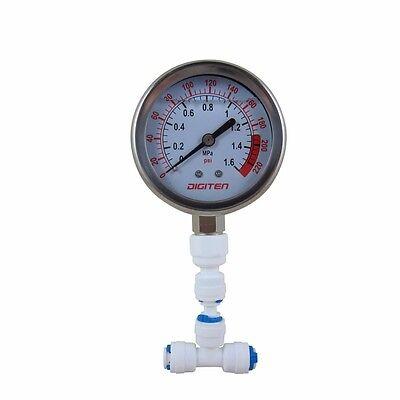 "1/4"" Water Pressure Gauge Meter 0-1.6MPa 0-220psi f Reverse Osmosis System Pump"