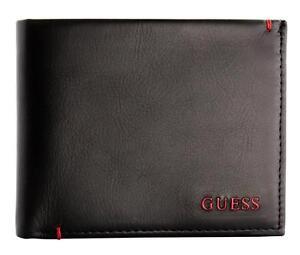 Guess-Men-039-s-Premium-Leather-Double-Billfold-Credit-Card-Wallet-Black-31GU13X030