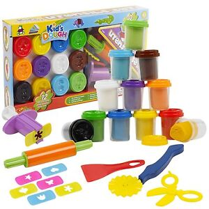 42-Piece-Play-Dough-Craft-Utensil-Shapers-amp-Tubs-Gift-Set-Childrens-Toys-Hobby