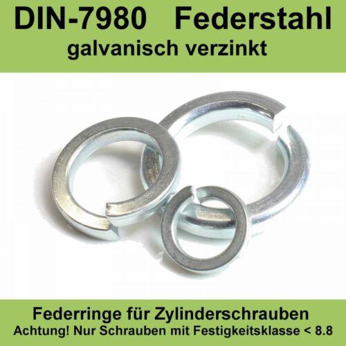 M30 DIN7980 Federringe für Zylinderschrauben verzinkte Federstahl Stahl 20-500ST