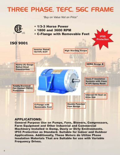 2 hp electric motor 56c frame 3 phase 3600 rpm North American Electric 230//460V