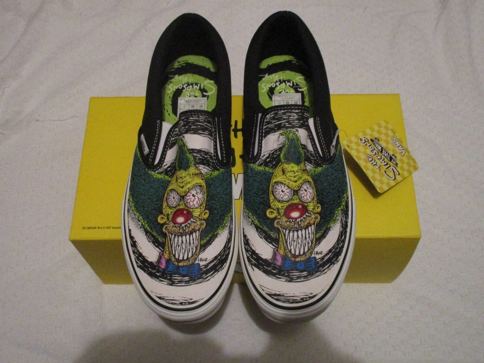 Vans Slip On LX Off the Wall Simpsons Krusty Lime Punch Size 11 Sneakers