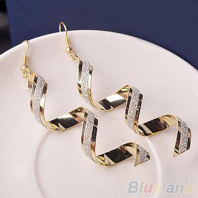 Women Trendy Vivid Bead Twist Spiral Eardrops Lady Long Dangle Hook Earrings NW