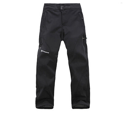 Mens Softshell Pants Waterproof Fleece Lined Trousers For Hiking Climbing Golf