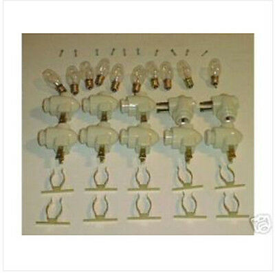10 Night Light Fixtures On/Off Switch Solder BRASS Clip to glass piece to mount