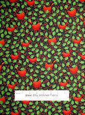 Windham Fabrics Let It Snow Holly Red Cardinal Bird Christmas Cotton Fabric YARD