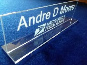 Details about USPS Logo Personalized Acrylic Glass NAME PLATE BAR Desk USPS  Logo Free Shipping
