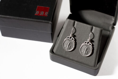 Solid Sterling Silver Guardian Angel Charm Jewelry Drop Earrings