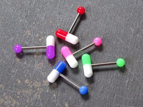 Zungenpiercing Pille Acryl Stahl versch Farben EmO 16mm Piercing