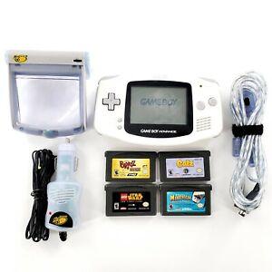Nintendo-Game-Boy-Advance-White-Handheld-System-w-4-Games-Light-Tested-amp-Works