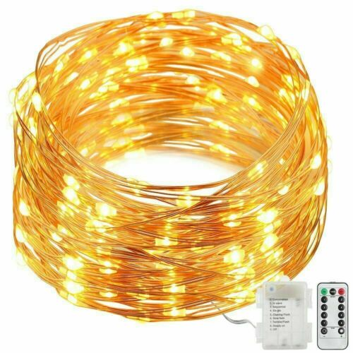 50LED Copper Wire String Light Remote Control Battery Powered Xmas Fairy Light-R