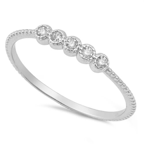 USA Seller Five Stones Ring Sterling Silver 925 Best Price Jewelry Selectable