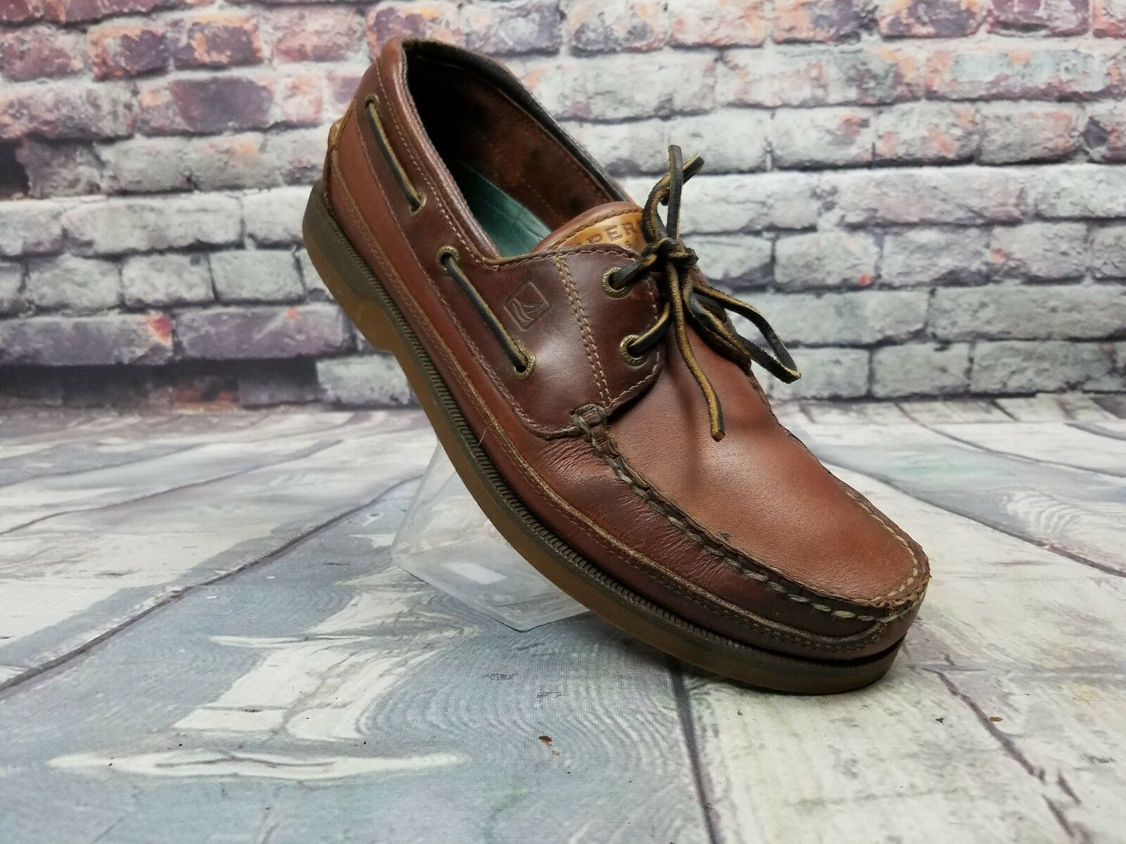 Men's SPERRY Top Sider shoes Billfish Loafers Brown Leather lace up Sz 9.5 M