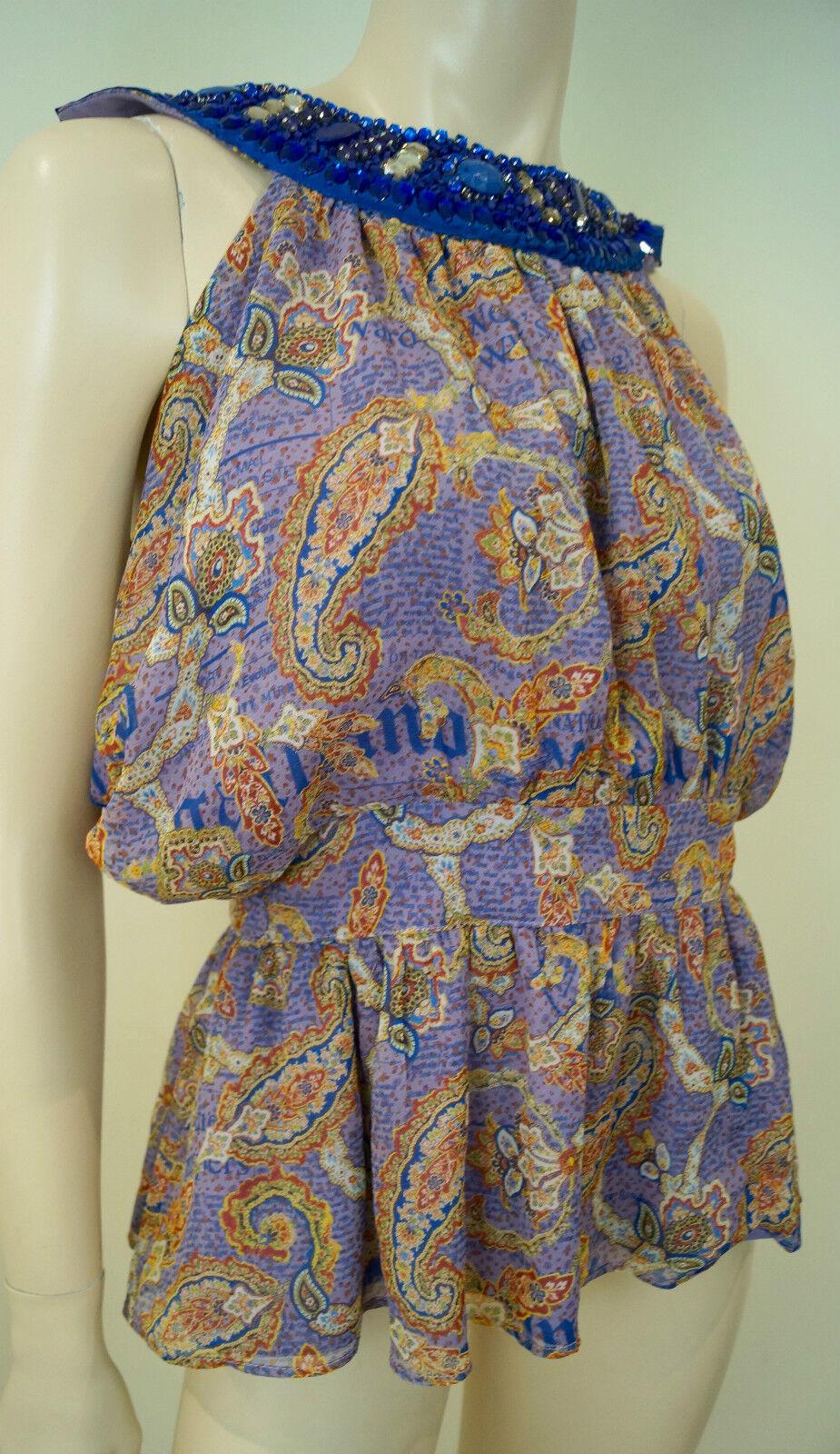 GALLIANO Lilac Silk Multi Print Blau Sequin Neck Sleeveless Blouse Top BNWT