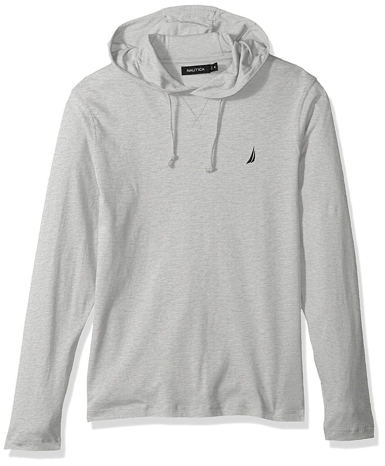 Nautica Mens Blue Sail Classic Fit Limited Edition Logo Hoodie Light Gray L